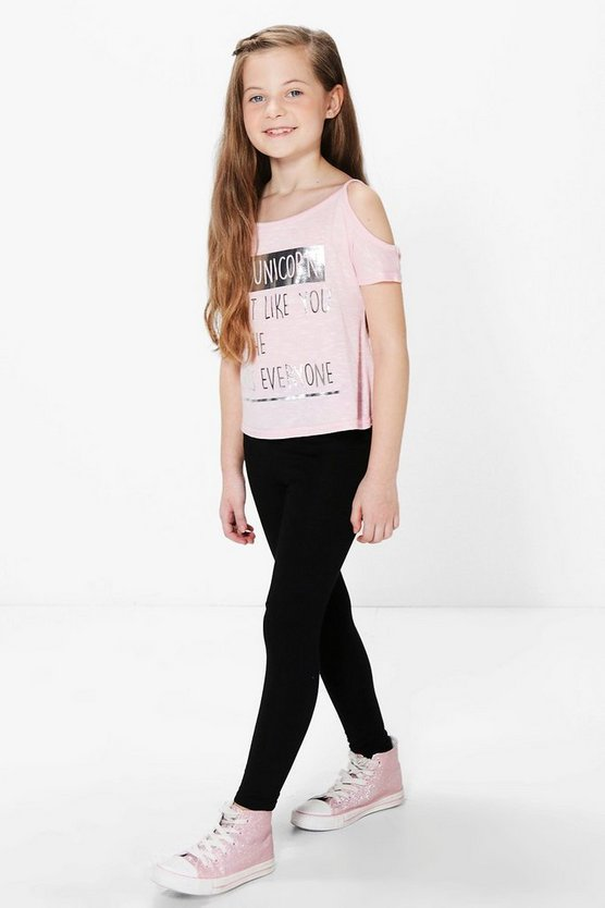 Girls Unicorn Cold Shoulder Top & Legging Set