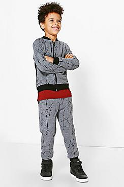 Boys Textured Contrast Cuff Jogger