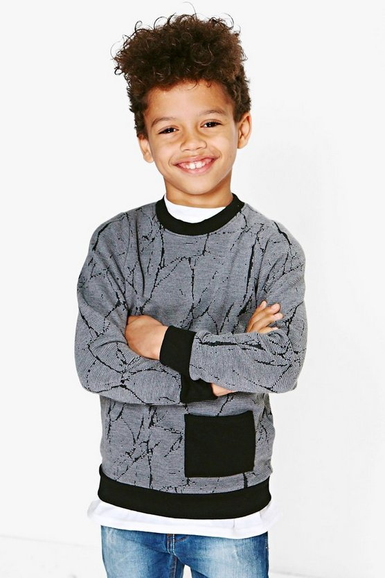 Boys Textured Pocket Detail Sweat Top