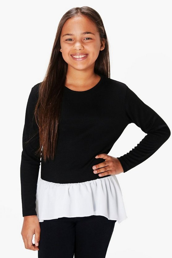 Girls Ruffle Hem Sweater
