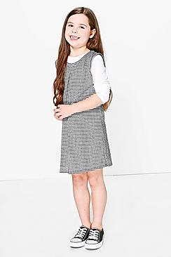 Girls 2 in 1 Long Sleeve Gingham Swing Dress