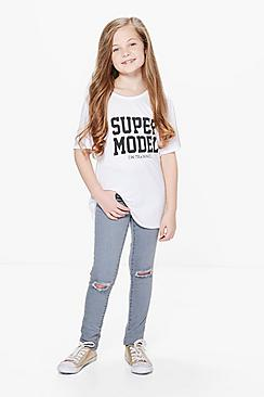 Girls Skinny Ripped Knee Jeans