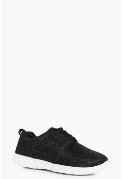 Girls Shimmer Lace Up Trainers
