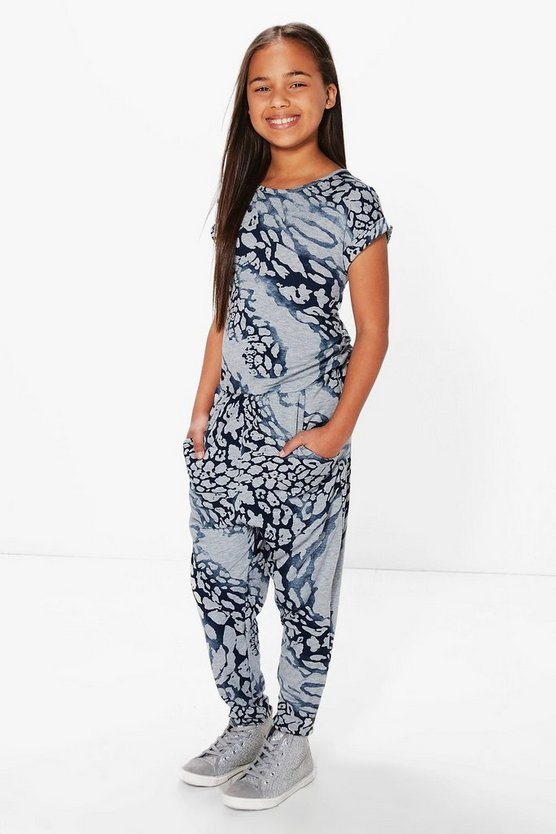 Girls Printed Animal Jumpsuit