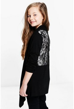 Girls Lace Back Waterfall Cardigan