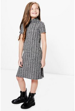 Girls Striped Roll Neck Swing Dress