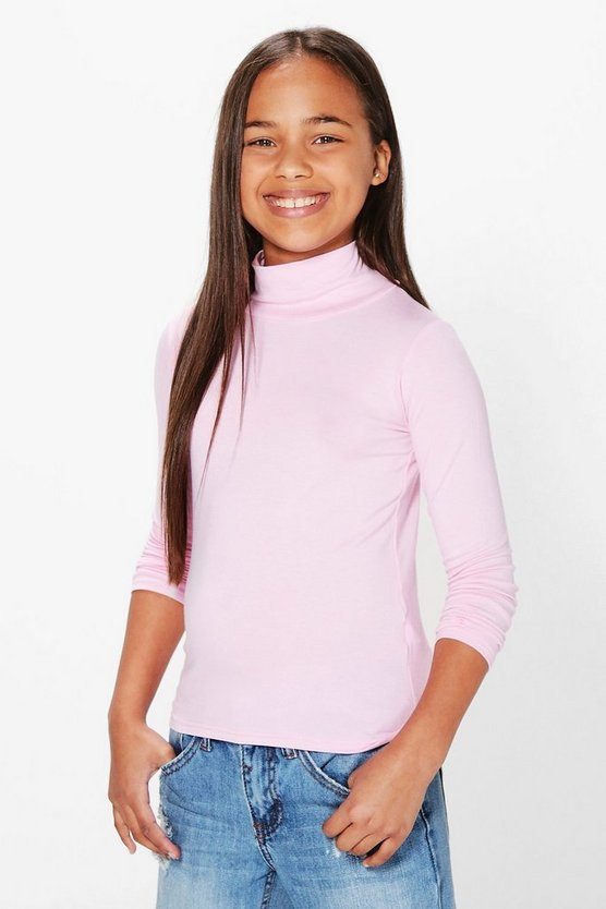 Girls Jersey Polo Neck Top