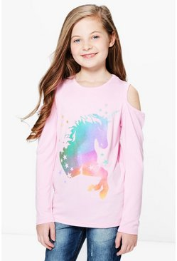 Girls Cold Shoulder Unicorn Multi Colour Top