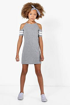 Girls Stripe Cold Shoulder Sports Dress