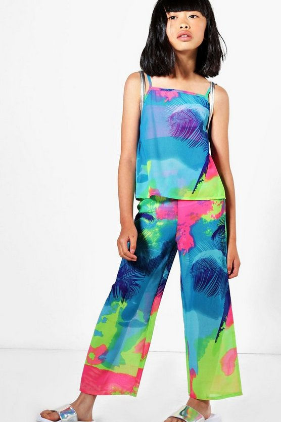 Girls Multicolour Chiffon Beach Co-ord Set
