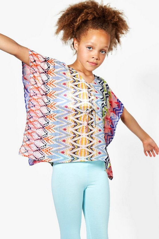 Girls Aztec Print Beach Kaftan