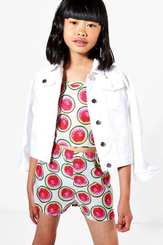 Girls Watermelon Print Beach Co-ord Set