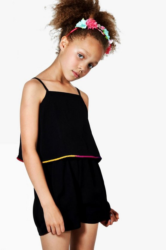 Girls Multicolour Pom Pom Playsuit
