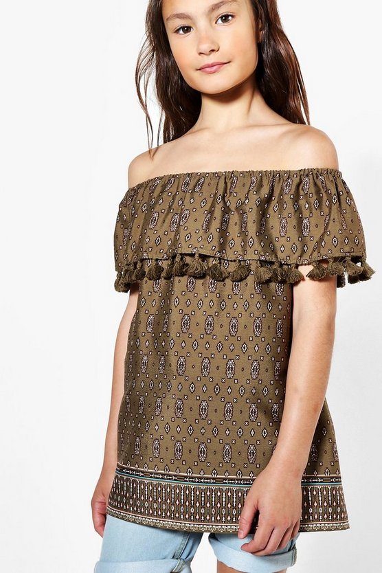 Girls Off The Shoulder Tassle Trim Top