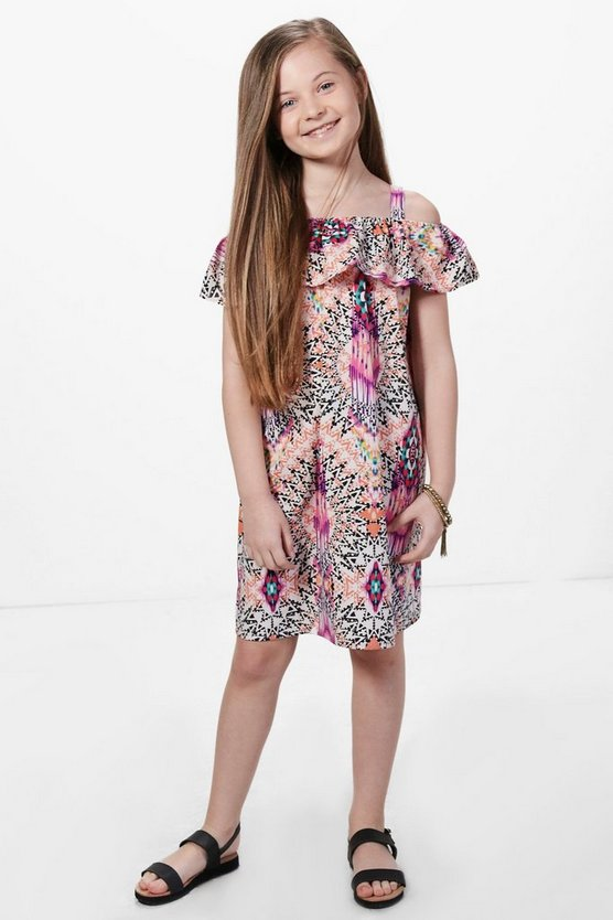 Girls Multicolour Print Frill Midi Dress