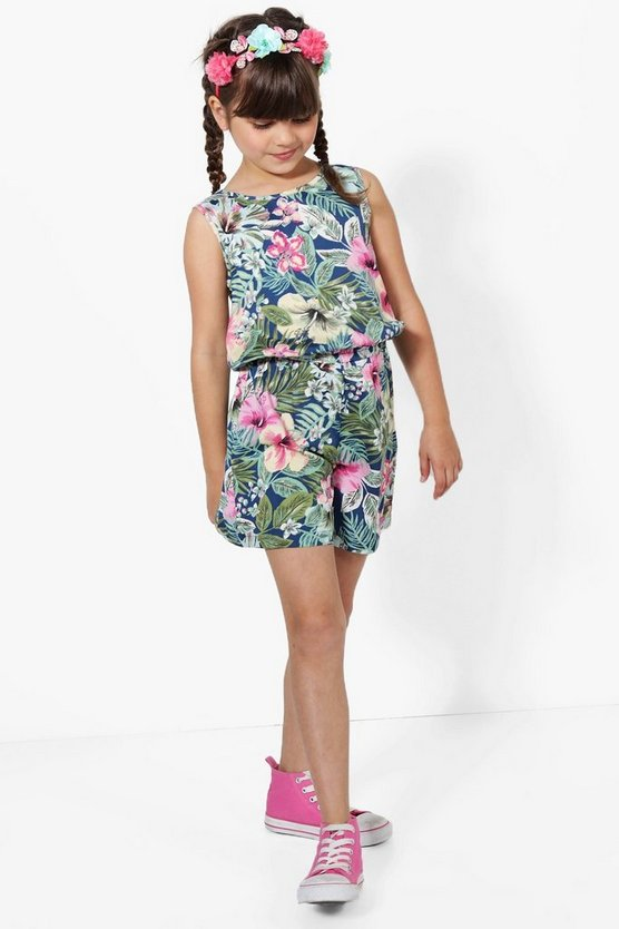 Girls Tropical Print Playsuit