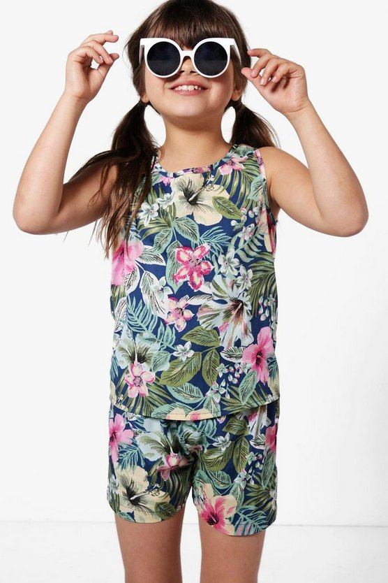 Girls Tropical Shorts & Cami Set