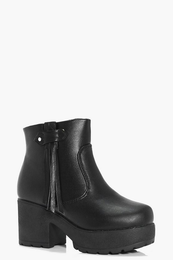 Girls Fringe Side Chunky Chelsea Boot