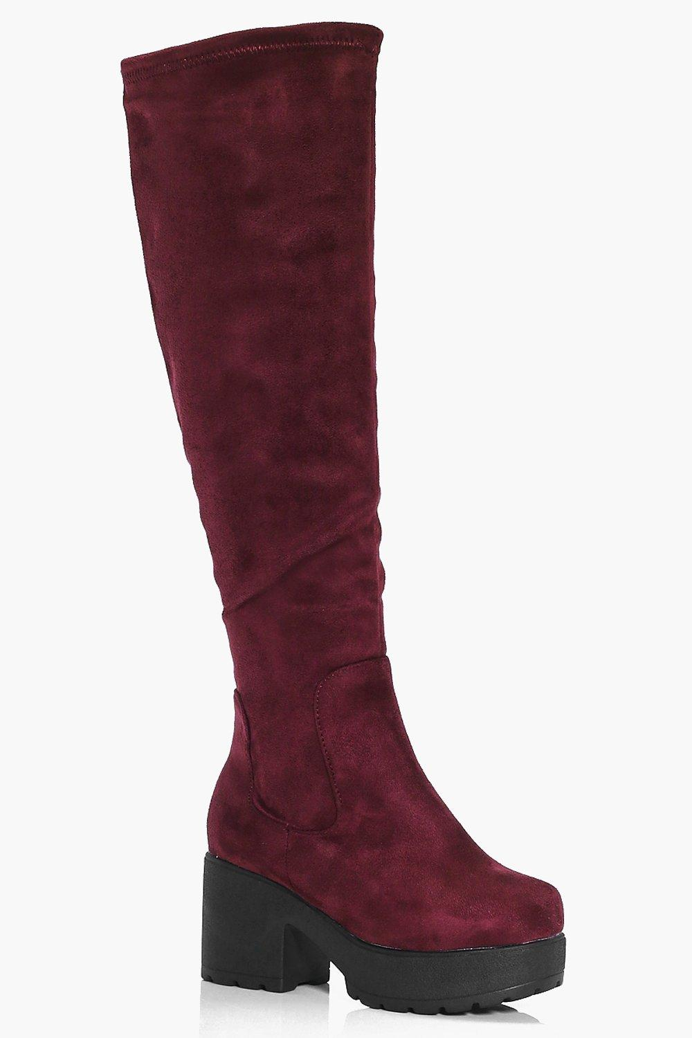 Chunky Cleated Knee High Boots  burgundy
