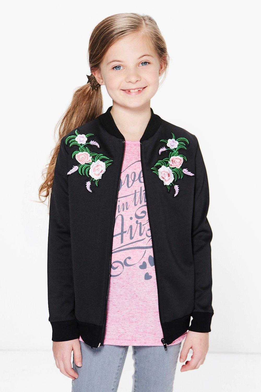 Embroidered Bomber Jacket  black
