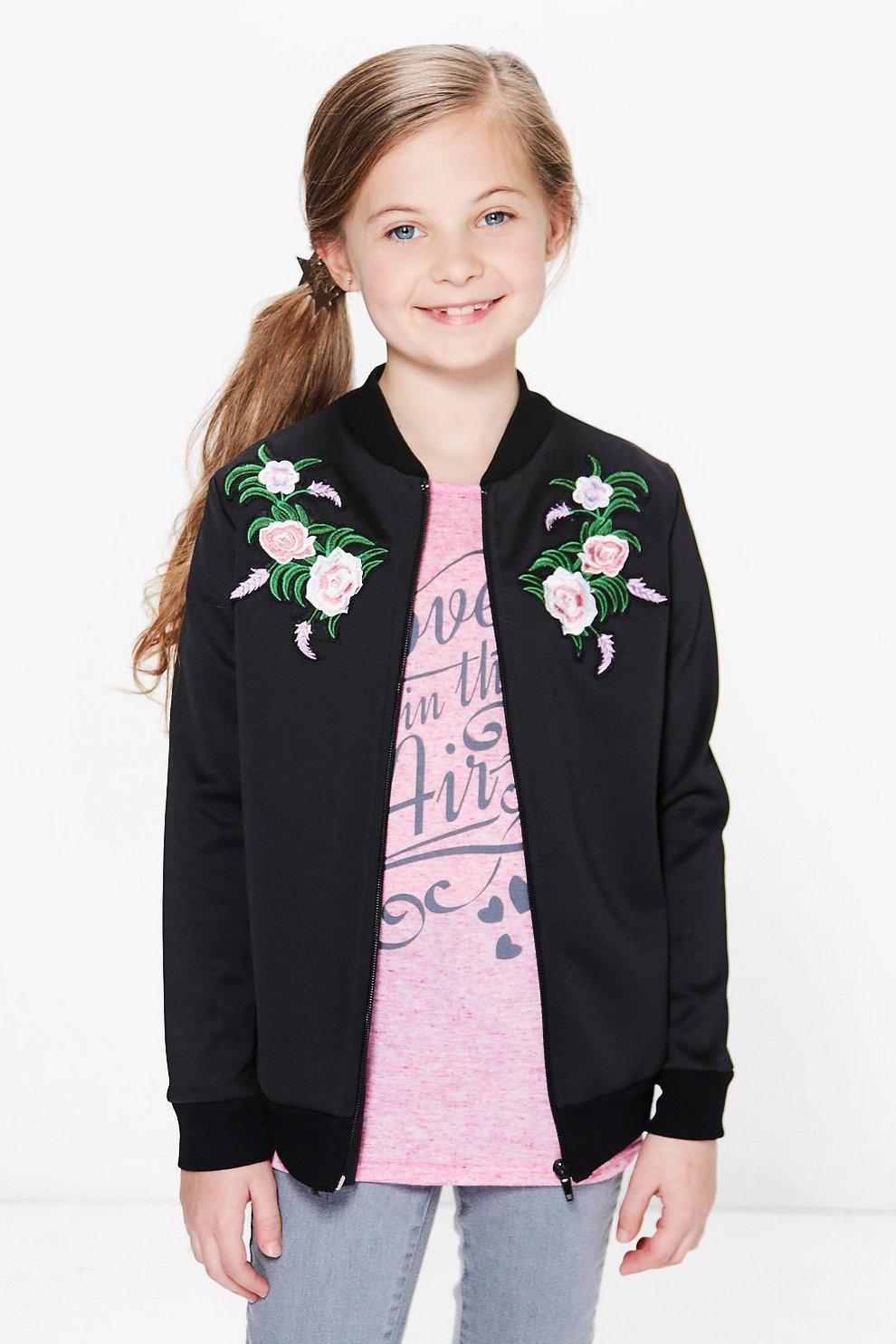 Girls Embroidered Bomber Jacket | Boohoo