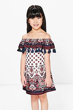 Girls Multi Print Tassle Trim Summer Dress