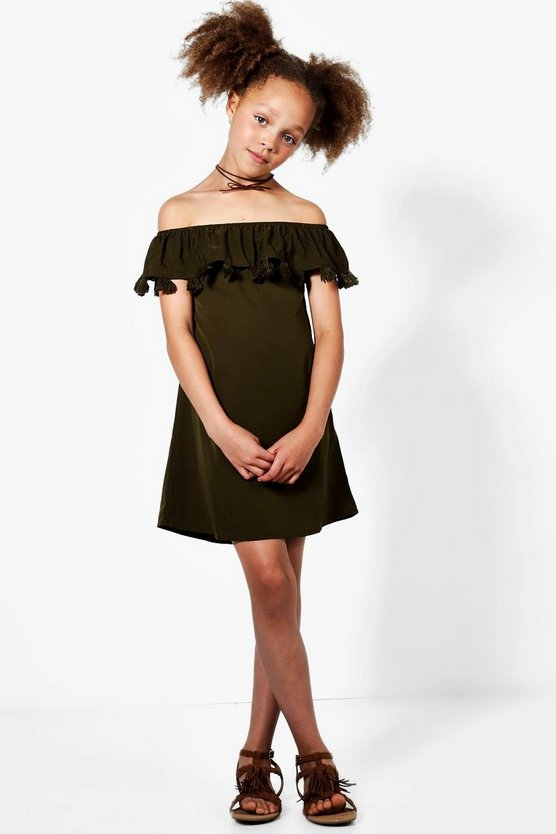 Girls Tassle Trim Off Shoulder Dress