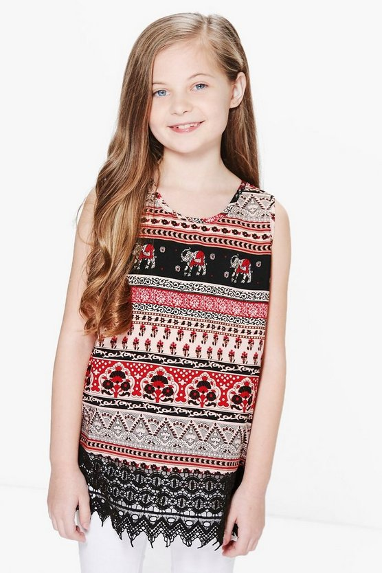 Girls Elephant Print Crochet Trim Top