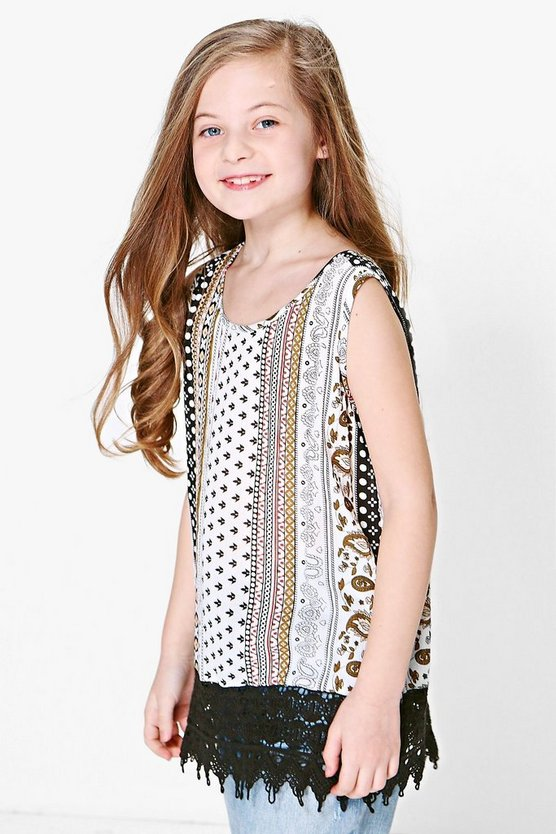 Girls Crochet Trim Top