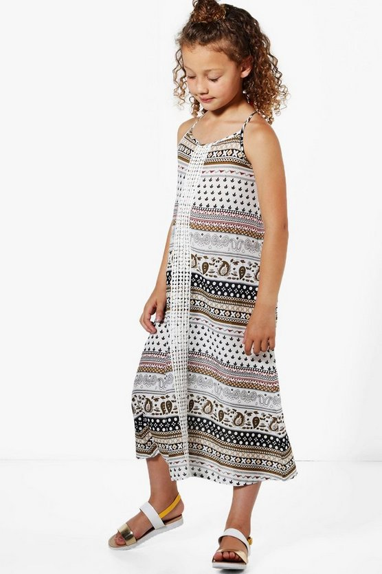 Girls Crochet Trim Printed Sun Dress