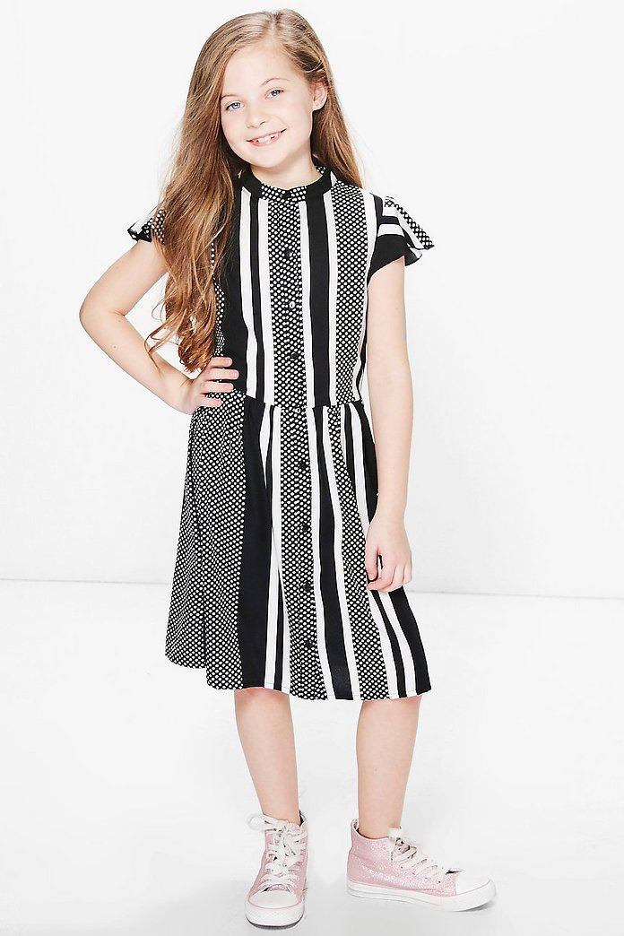 Girls Stripe & Spot Woven Shirt Dress