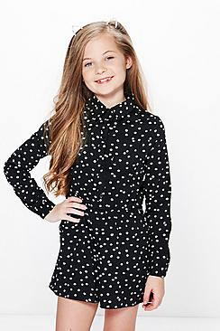 Girls Polka Dot Shirt Style Playsuit
