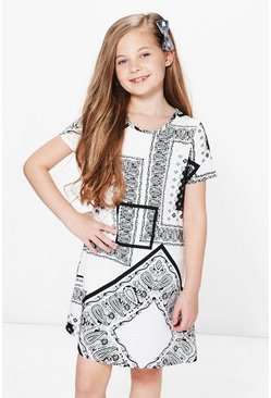 Girls Paisley Print Shift Dress