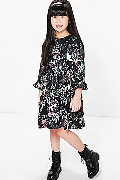 Girls Floral Print Crochet Trim Dress