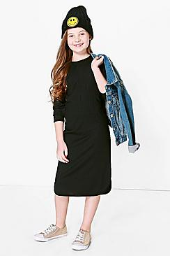 Girls Rib Midi Dress
