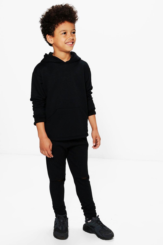 Split Knee Tracksuit Set  black