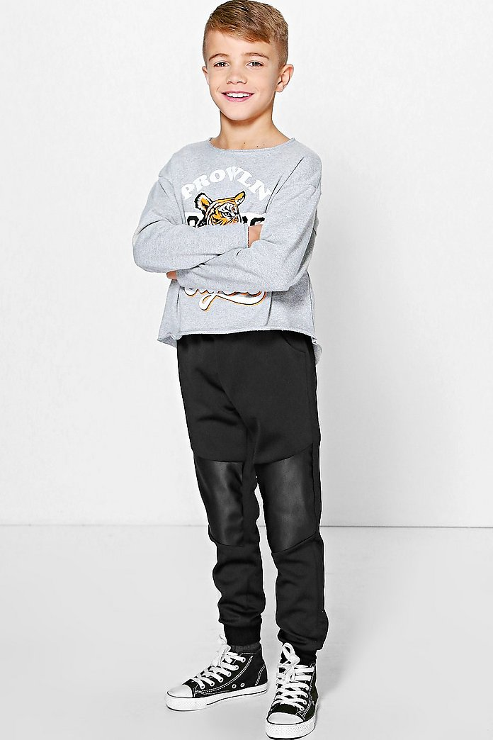 Boys Leather Look Patch Joggers
