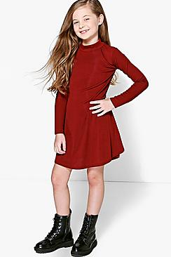 Girls Ribbed High Neck Swing Dress