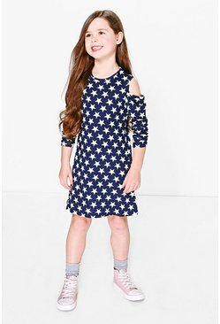 Girls Cold Shoulder Star Print Dress