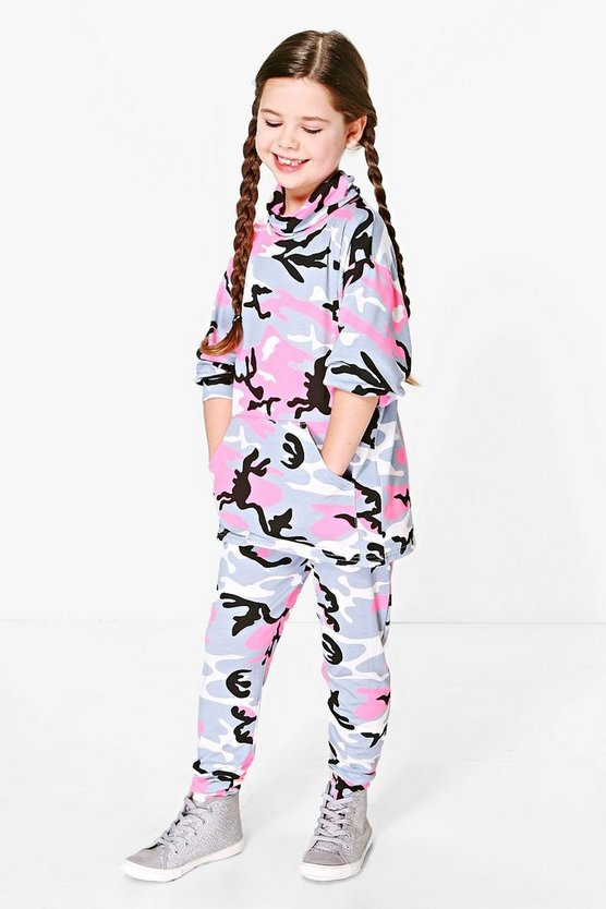 Girls Camo Roll Neck Tracksuit Set