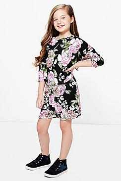 Girls Floral Scallop Playsuit