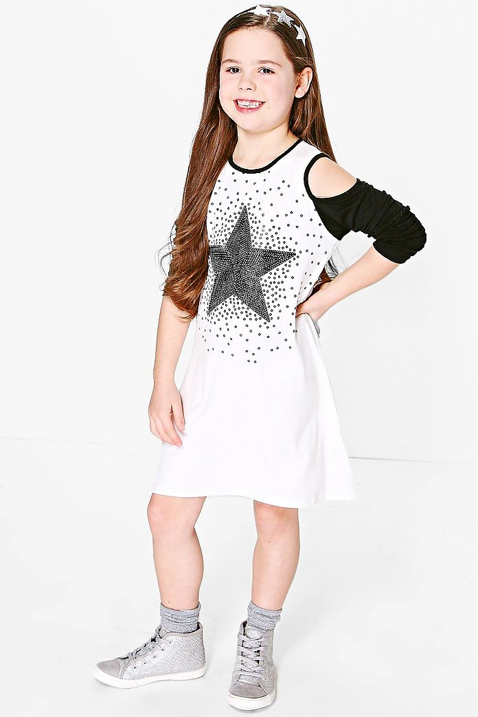 Girls Star Placement Cold Shoulder Dress