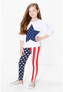 Girls Stars And Stripes Top & Legging Set