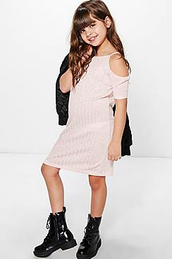 Girls Cold Shoulder Jersey Dress