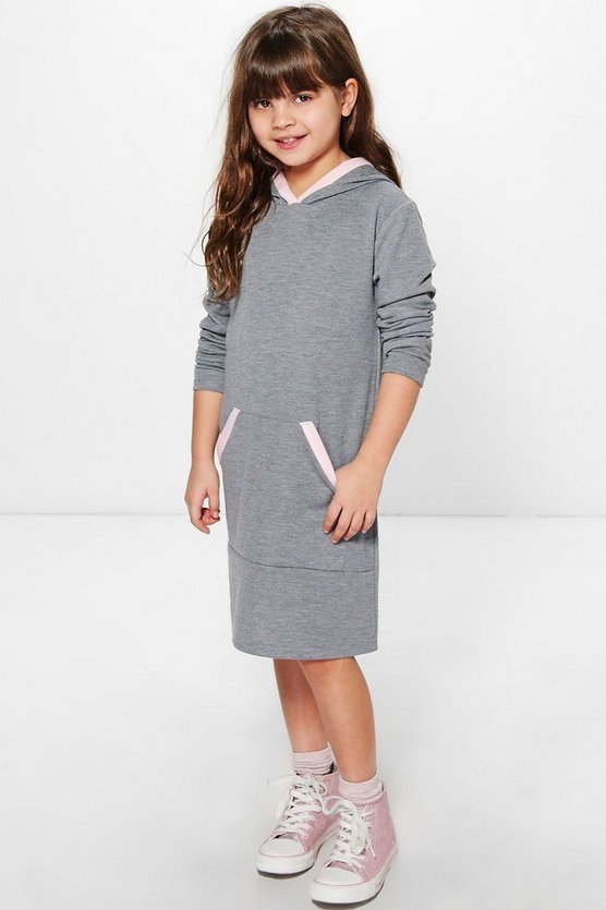 Girls Hooded Contrast Trim Sweat Dress