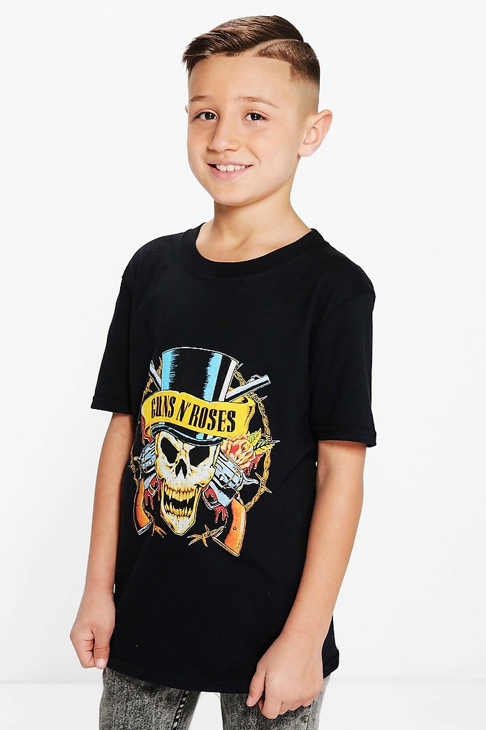 Boys Guns And Roses Tee