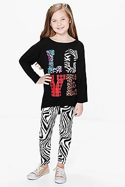 Girls Love Printed Top & Legging Set