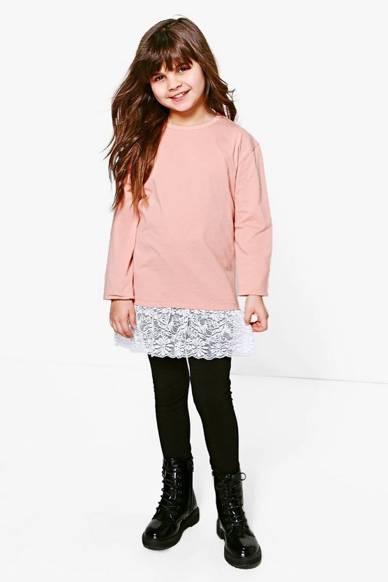 Girls Long Sleeve Lace Frill Top And Legging Set