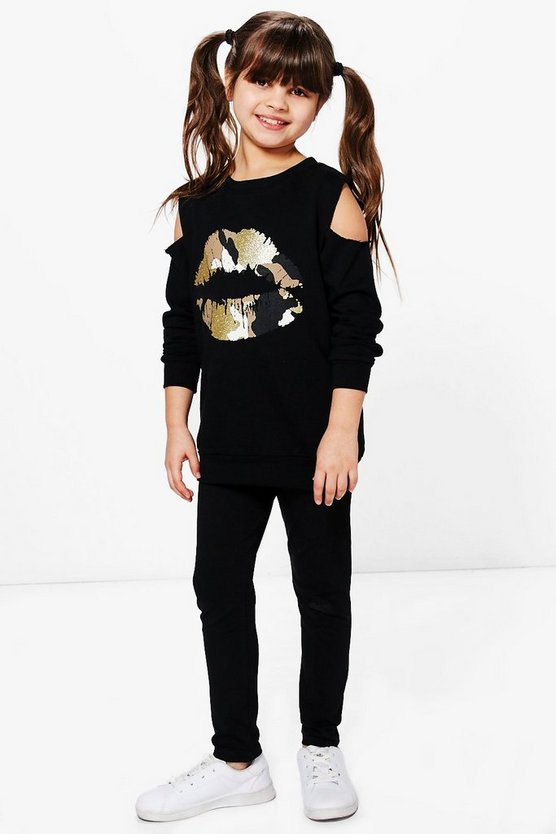 Girls Camo Kiss Cold Shoulder Top & Legging Set