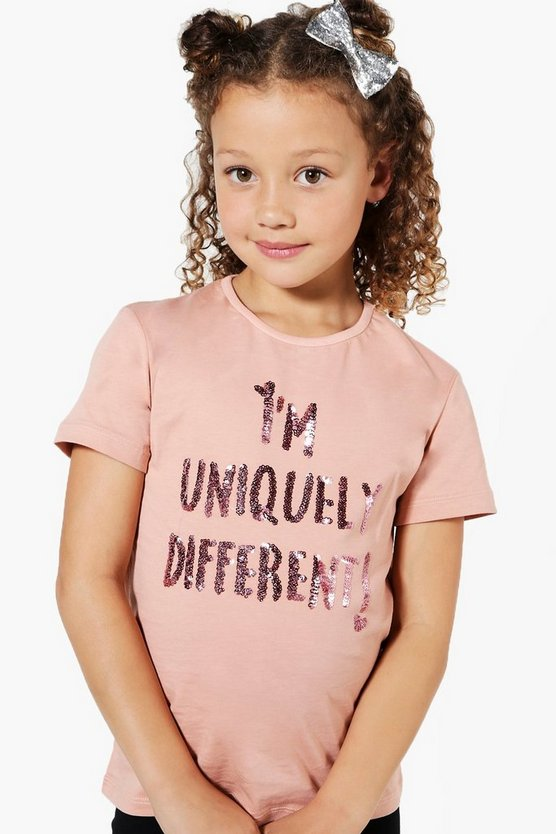 t-shirt pailleté i'm uniquely different pour filles